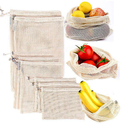 Cotton Mesh Produce Bags Grocery Fruit Storage Shopping String Bags Reusable