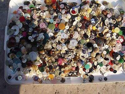Over 2 Pounds Vintage Buttons ALL SHAPES SIZES COLORS Metal Bakelite Shell Wood