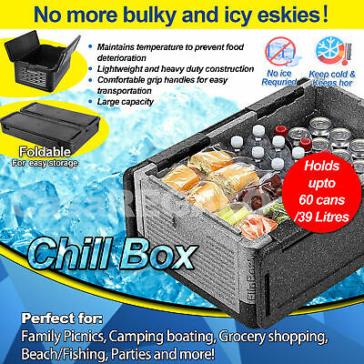 Chill Chest Lightweight Ice Free Cooler Keeps Food Drink Hot Cold Foldable Upp