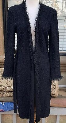 st john collection By Marie Gray Black Knit Sweater Coat Size 6