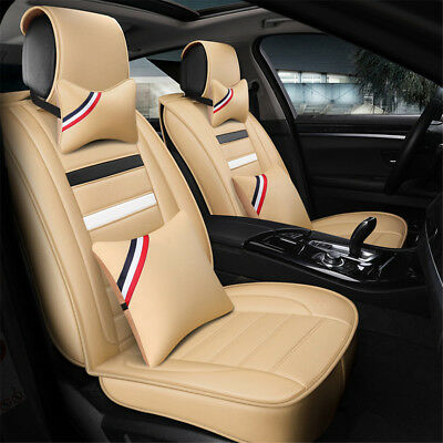 Car Seat Cover Beige PU Leather 5 Seats Cushion Front+Rear Set W/ Pillows Size M