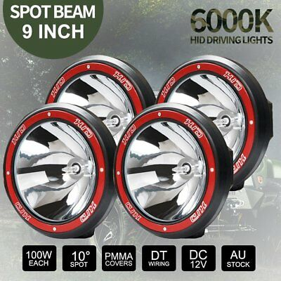 4x 9inch 100W HID Spot Driving Lights XENON Spotlights Off Road 4WD Work 12V Red