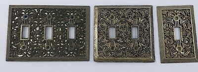 Set of 3 Vintage Ornate Switch Covers Brass 3 Toogle, 2 Toogle and 1 Toogle