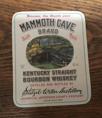 Vintage Mammoth Cave Brand Whiskey Label, NOS, 1940S, MINT, NR