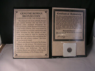 Genuine Roman Bronze Coin With Certificate Of Authenticity
