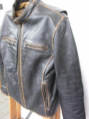 Black and Brown 1826 distressed leather motorcycle  jacket