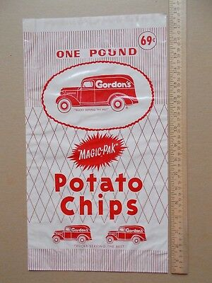 Vintage Unused Large Gordon's Potato Chips Waxed Paper Bag Red & White Old Car