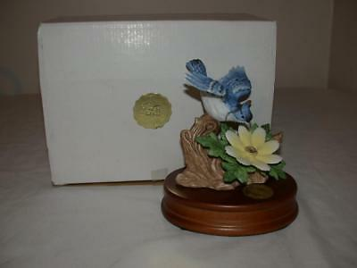 Heritage House Springtime Serenades Musical Blue Jay With Flower & Wood Base