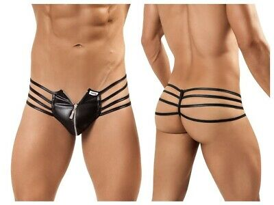 Wetlook Thong with Zip Front Pouch Black