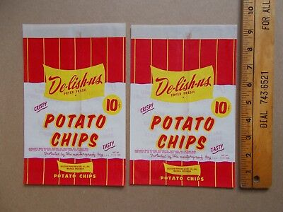 2 Vintage Unused De-Lish-Us Potato Chips Bag Waxed Paper Red White Yellow