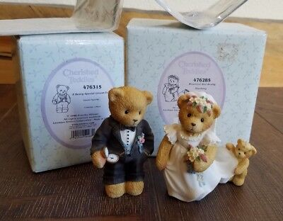 Cherished Teddies Beary Special Groom and Bearly Blushing Bride 1998 -NEW in Box