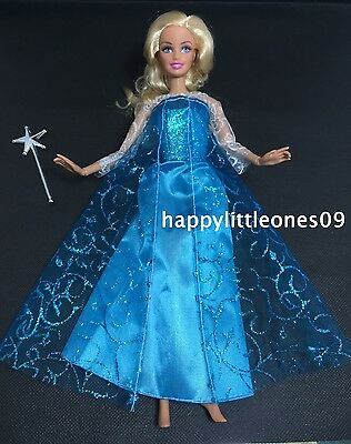 New Barbie Doll Dress/Outfit Frozen Snow Queen Elsa & Magic Wand & Shoes Set