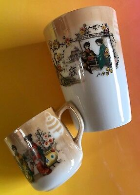 Antique Chinese Japan ? Asian Porcelain Cup Geisha Cups 120 Japanese?