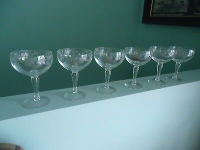 6 vintage etched crystal champagne sherry  wine glasses grape design