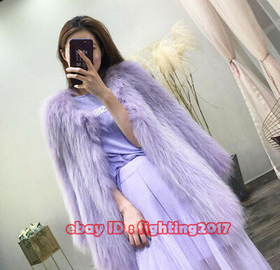 2018 Women'S Real White Racoon Dog Hair Woven Fur Long Sleeve Long Coat Jecket