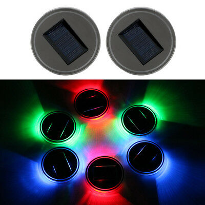 2pcs Solar Colorful LED Car Cup Holder Pad Mat Auto Atmosphere Lights