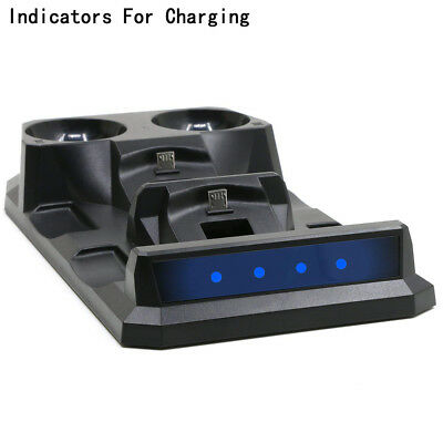 4In1 Controller Charger Dock Station Stand For Playstation PS4 PSVR VR Move Gift