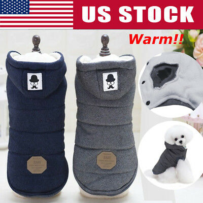 S-XXL Pet Dog Winter Cotton Warm Padded Hooded Coat Puppy Jacket Sweater Apparel