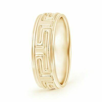 Gift For Him Matte Finish Greek Key Comfort-Fit Men's Wedding Band