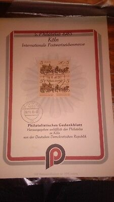 4 + 2 DDR Mi Nr 2966 Philatelistisches Gedenkblatt 5. Philatelia 1985 Köln RRR