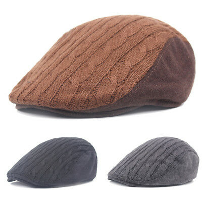 Men Knitted Winter Warm Newsboy Cap High Quality Driving Cabbie Berets Flat Hat