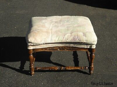 Vintage French Country Pink & Green Floral Ottoman Bench