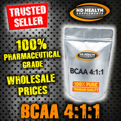 500g PURE UNFLAVOURED BCAA POWDER 4:1:1 | INSTANTISED PHARMACEUTICAL GRADE | RAW