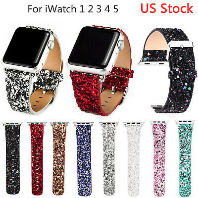 Bling Christmas Leather Band for Apple Watch Series 5 4 3 2 Glitter PU Strap US