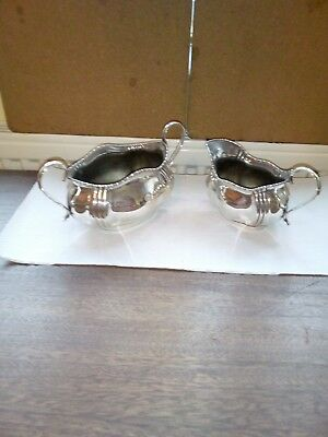 Lovely Pear Of Silver Plated Sugar Bowl And Milk Jug