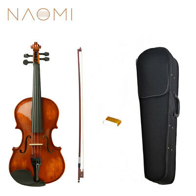NAOMI Acoustic 4/4 Violin Fiddle Vintage Gloss Finishing With Case Bow Rosin