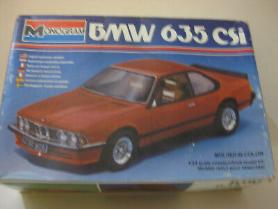 Monogram Bmw 635 Csi Molded In Red Kit Is Opened 1/24 Scale