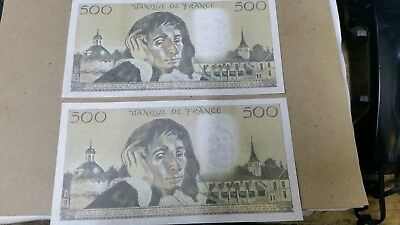 lot 2x 500 francs 1982 + 1983 very good condition no pin holes