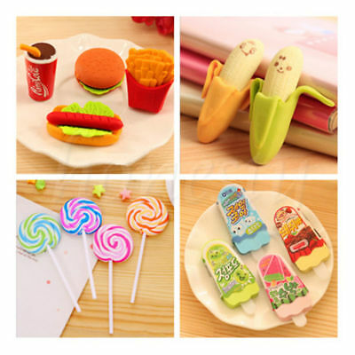 Funny Cute Fruit Snacks Rubber Pencil Eraser Office Stationery Toy Student Gift