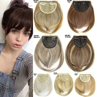 1/2Pcs Thick Straight Bang Clip in on Fringe Hair Extensions as Human Hairpiece