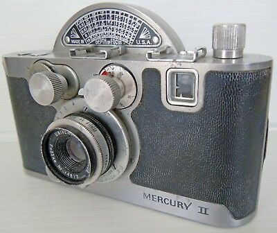 UNIVEX MERCURY II MODEL CX HALF FRAME 35mm CAMERA 35mm f2.7 LENS MADE IN U.S.A.