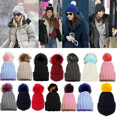 New Ladies Girls Detachable Faux Fur Pom Pom Winter Knitted Beanie Bobble Hat