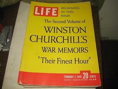 37Th-1 Life Magazine  February 7,1949  Issue Churchill's Their Finest Hour  Cove