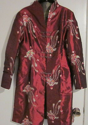 RARE Asian Embroidered SILK Oriental Lounge Coat Kimono Robe Jacket REVERSIBLE