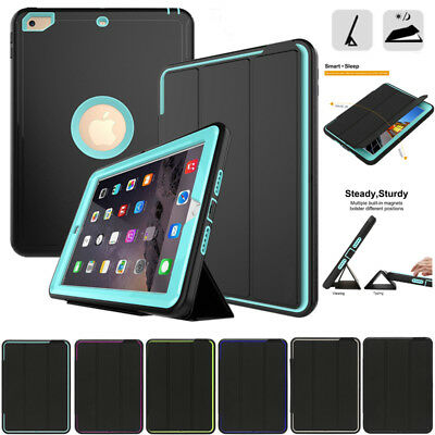 For iPad 5/6th Gen/Air 2/Mini Shockproof Smart Protective Cover Hybrid Hard Case