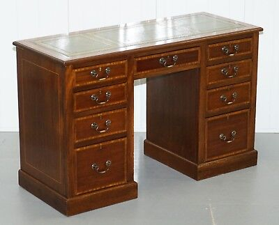 Lovely Antique Mahogany With Walnut Inlay & Green Leather Top Twin Pedestal Desk
