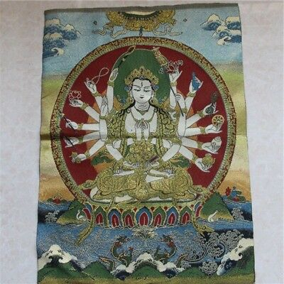 Tibetan Silk Buddha Statue of Nepal Thangka Embroidery -Thousand-Hand Kwan-yin