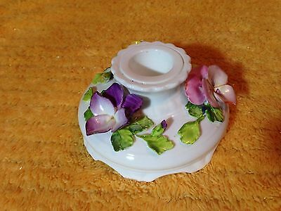 Vintage Coalport Bone China Candle Candlestick Holder Porcelain Flowers England