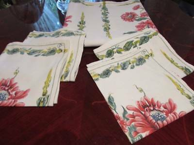 Vintage Printed Vibrant Red Flowers Linen Tablecloth 4 Napkins