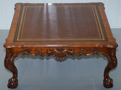 Lovely Hand Carved Brown Leather Top Mahogany Coffee Table With Claw & Ball Feet