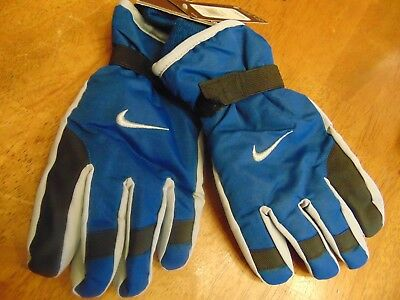 nwt boys youth nike winter ski gloves size 8/20 blue/gray/black msrp $28.00