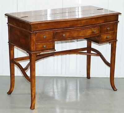 Lovely Rrp £2299 Theodore Alexander Campaign Fold Out Desk Writing Table Leather