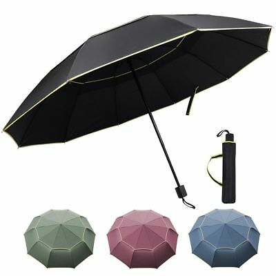 Large Men Women Large 3-Folding Sun Rain Umbrella Anti-UV Windproof w/ 10 Ribs