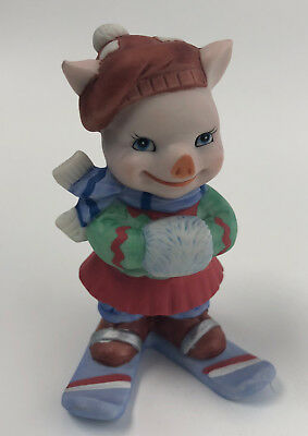 Cute Pig Piglet Winter Snow Skiing Porcelain Bronson Collectible BC 1995
