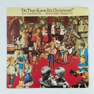 """BAND AID Do They Know It's Christmas FEED1 7"""" 45rpm UK Vinyl VG++ Cover VG+ Blue"""