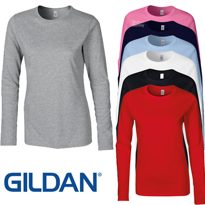 Gildan Ladies Women Long Sleeve T-Shirt Top 100% Soft Cotton Casual Basic Plain